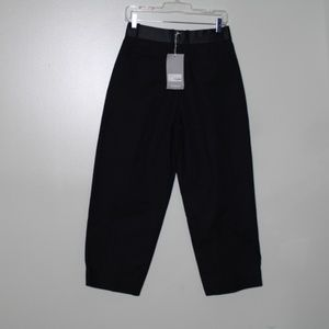 everlane women black pleated crop pant SZ 4
